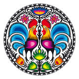 Roosters. Illustration of Polish traditional papercut from Lowicz region Stock Photos