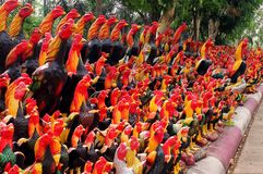 Roosters monument in Ayutthaya, Thailand royalty free stock photography