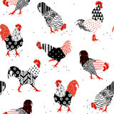 Roosters with patterns Stock Images