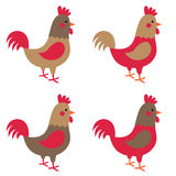 Roosters set Stock Photography