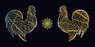Roosters and the snowflake. For design Stock Image