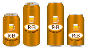 Root beer aluminium soft drink cans vector Royalty Free Stock Photography