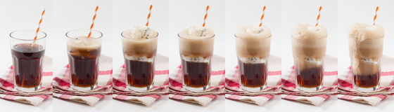 Root beer float. Collage image of Root beer with vanilla ice cream Royalty Free Stock Photo