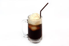 Root Beer Float. Isolated on white background stock photos