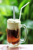 Root beer float. A tasty summer treat on Green tree background Stock Image