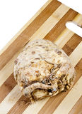Root of Celery. Celery root with a little mold on a wooden board Royalty Free Stock Photography
