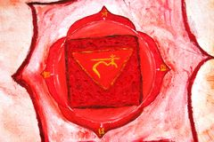The Root Chakra. The image depicts Muladhara - the Root Chakra, that conects us with the Earth Stock Image