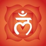 Root chakra. Muladhara root chakra symbol on red background Stock Images