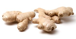 The root of ginger. Isolated on white background Stock Photo