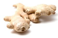 The root of ginger. Isolated on white background Stock Photography