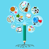 Root of learning. Learning is deeply rooted and branched into many different subjects Royalty Free Illustration