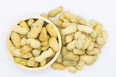 Root peanuts in wooden bowl Stock Photo