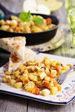 Root vegetable hash with apple. Potato and carrots royalty free stock photo
