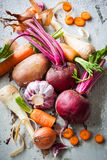Root vegetables. Assorted types of root vegetables Royalty Free Stock Photography