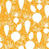 Root vegetables silhouettes seamless pattern Stock Photo