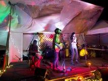 Roothub bawić się gitarę z Rzecznym Zachodnim śpiewem i dobosza, Obraz Stock
