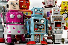 Roots. A large group  of retro robot toys Royalty Free Stock Photo