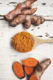Roots and powder turmeric Royalty Free Stock Images