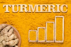 Roots and turmeric powder - Graph of sales and consumption statistics. Top view royalty free stock photos