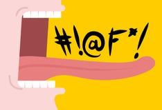 Rop som svär ord Öppen mun för skrik Tänder och tunga illaluktande LAN stock illustrationer