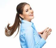 Ropa affärskvinnan med långt hår för rörelse Fotografering för Bildbyråer