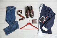 Ropa, calzado y accesorios masculinos Fotografía de archivo libre de regalías