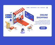 Ropa de compra de la gente en línea del concepto isométrico de las ilustraciones de la página web fotografía de archivo
