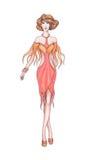 Ropa de diseñador del bosquejo, diseñador de moda Imagen de archivo libre de regalías