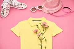 Ropa de la muchacha del inconformista de la moda fijada Diseño de la primavera Fotos de archivo