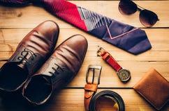 Ropa de los accesorios de vestir del viaje adelante para el hombre de negocios Fotografía de archivo