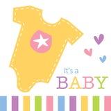 Ropa del bebé para la tarjeta de felicitaciones Foto de archivo libre de regalías