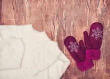 Ropa del invierno Moda ligera hermosa de las señoras en un fondo de madera imagenes de archivo