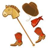 Ropa del niño del caballo y del vaquero del juguete stock de ilustración
