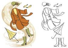 Ropa del otoño de la mujer. Moda de la estación del vector Fotografía de archivo