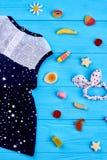 Ropa del verano del bebé, accesorios Imagen de archivo libre de regalías