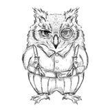 Ropa divertida del búho Drenaje a mano Ilustración del vector Fotografía de archivo