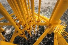 Ropa I Gaz inscenizowanie szczeliny przy Na morzu platformą Zdjęcie Stock