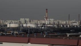 Ropa i gaz rafinerii fabryki panorama Środowisko ochrony pojęcie zbiory