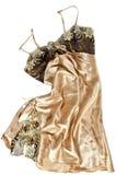 Ropa interior femenina de seda del oro con el cordón Foto de archivo libre de regalías