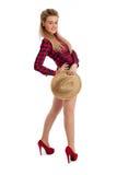 Ropa ocasional y sombrero de paja femeninos bastante jovenes Fotografía de archivo