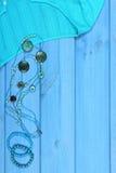 Ropa para la mujer y los accesorios para las vacaciones y el verano, espacio de la copia para el texto Foto de archivo