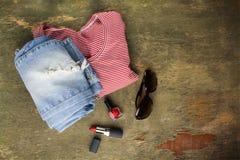 Ropa para mujer y accesorios del verano Imagen de archivo libre de regalías