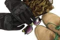 Ropa plana de la endecha para el motorista fijado: zapatos, guantes del moto, bufanda, vidrios de sol Fotos de archivo libres de regalías