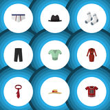Ropa plana del icono fijada de los objetos de la ropa, de los pantalones, casuales y otro del vector También incluye las ropas in Imagen de archivo