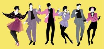 Ropa que lleva de baile de la música de la nueva ola de la gente joven en el estilo de los años 80 libre illustration