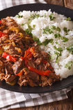 Ropa vieja: beef stew in tomato sauce with vegetables and rice g Royalty Free Stock Images