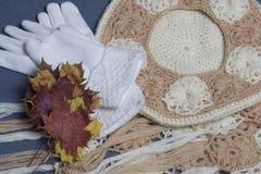 Ropa y accesorios del otoño Boina, guantes y bufanda hechos punto Asperjado con las hojas de otoño coloridas en un fondo gris Foto de archivo libre de regalías