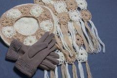 Ropa y accesorios del otoño Boina, guantes y bufanda hechos punto en un fondo gris Foto de archivo libre de regalías