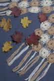 Ropa y accesorios del otoño Bufanda hecha punto Asperjado con las hojas de otoño coloridas en un fondo gris Fotos de archivo libres de regalías