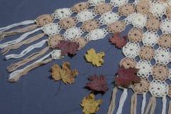 Ropa y accesorios del otoño Bufanda hecha punto Asperjado con las hojas de otoño coloridas en un fondo gris Foto de archivo